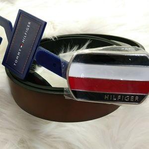 New Tommy Hilfiger Men Logo Buckle Leather Belt L